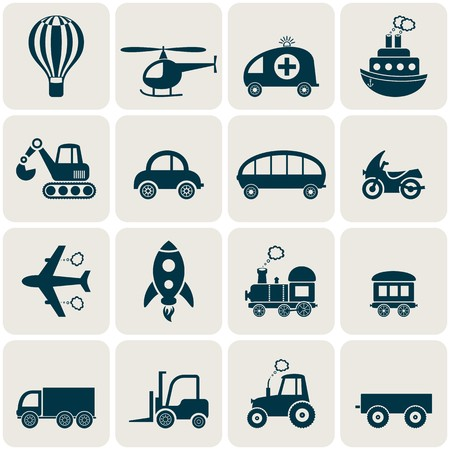 Cute white transport icons in retro squares Vector