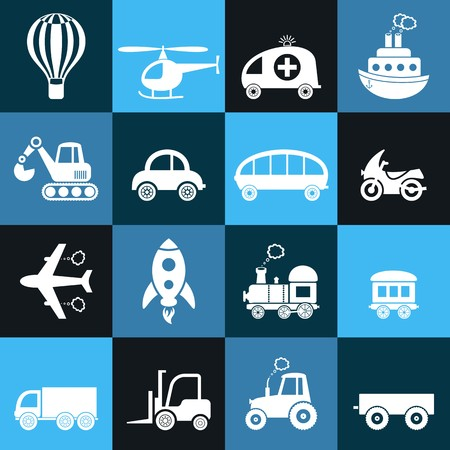 Cute white transport icons in blue squares