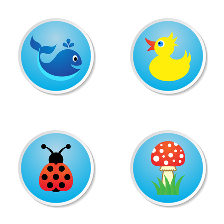 Four cute colorful baby icons on blue labels Vector