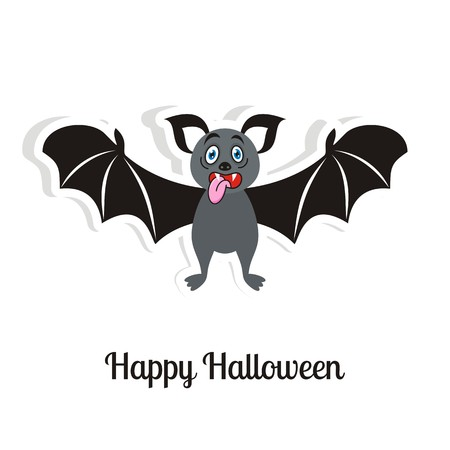 Happy halloween card with funny scary bat Vector