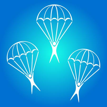 fallschirmj�ger: Fallschirmspringer-Symbole auf blauem Hintergrund