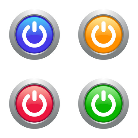 Four vector colorful web glossy glass power buttons Vector