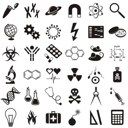 biologia molecular: Medicina biolog�a molecular y la ciencia colecci�n de iconos vectoriales