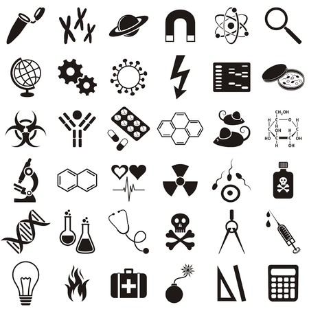 molecular biology: Molecular biology medicine and science vector icons collection