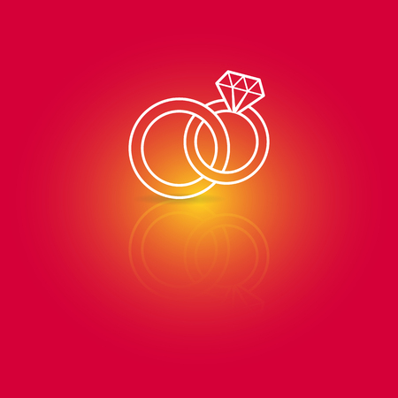 manos unidas: Blanco vector anillos de boda icono en el fondo rojo Vectores