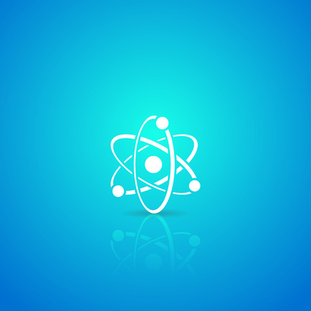blue sphere: Atom white vector icon on blue gradient background Illustration