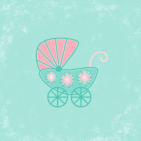 Baby shower grunge invitation card template with stroller Vector