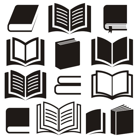 Black vector book icons collection on white background