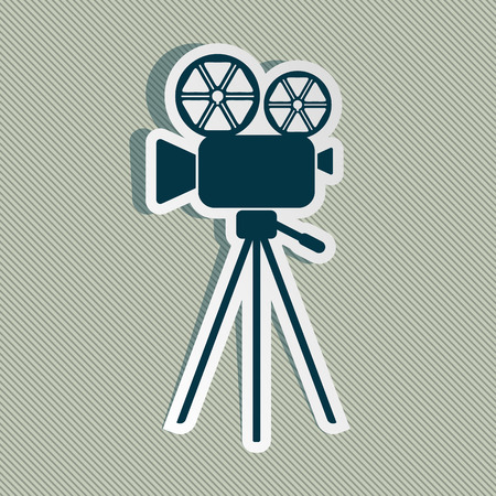 antiquated: Blue retro movie camera icon on striped background