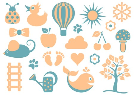 Cute baby icons collection isolated two retro colors Vector