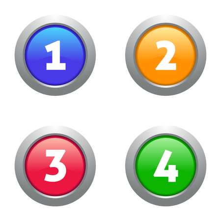 numerate: Four vector colorful web glossy glass numbers buttons