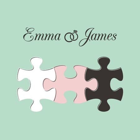joined: Mint wedding invitation with three joined puzzle pieces Illustration