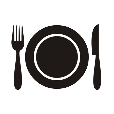 dinner: Plate with fork and knife restaurant menu icon Illustration