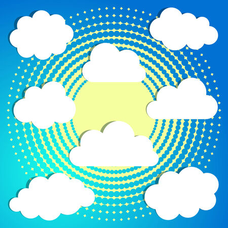 Set of white clouds on blue halftone background Vector