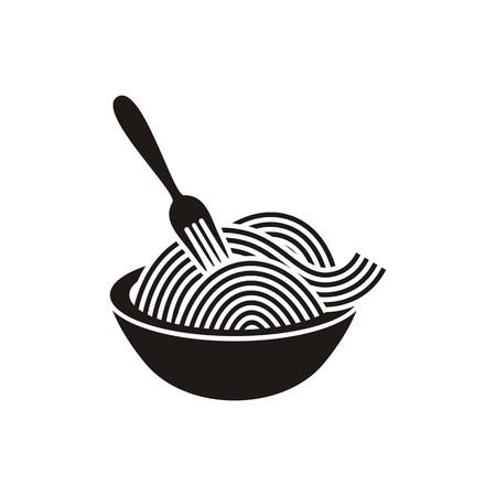 Espaguetis o tallarines con tenedor icono vector negro Foto de archivo - 32994141