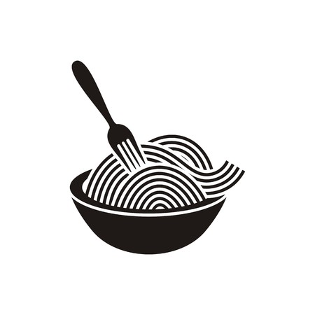Spaghetti or noodle with fork black vector icon