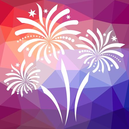 White vector firework on colorful mosaic triangle background Vector