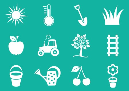 White vector gardening icons collection on green background Vector