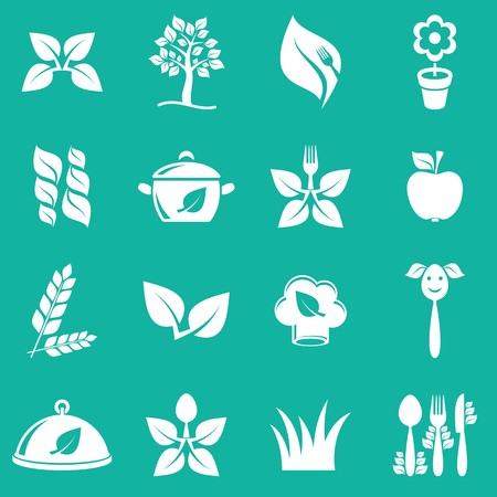 White vector vegetarian food icons on green background Vector