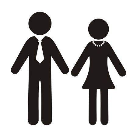 Black vector gentleman and lady silhouette icons isolated