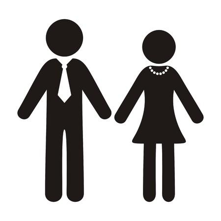 Zwarte vector heer en dame silhouet iconen