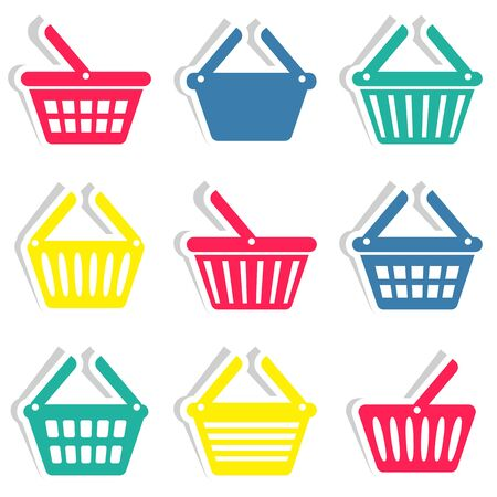 Colorful vector shopping basket icons stickers collection isolated Vector