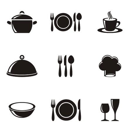 요리 및 주방 레스토랑 메뉴 실루엣 아이콘 모음