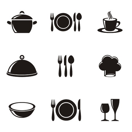 Cooking and kitchen restaurant menu silhouette icons collection