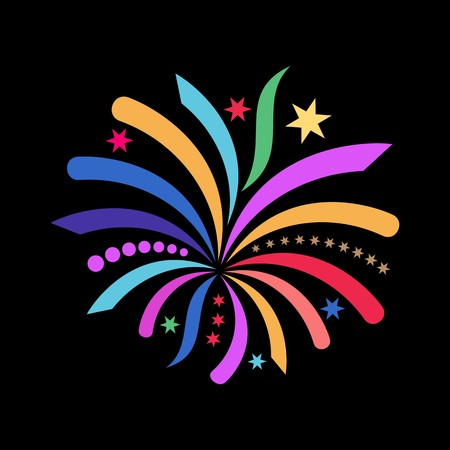 Beautiful colorful simple vector abstract firework black background Vector