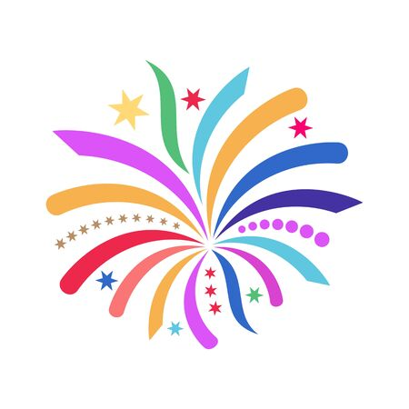 Beautiful colorful simple vector abstract firework icon isolated Vector