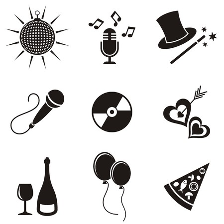 Black party and entertainment icons vector silhouette collection Vector