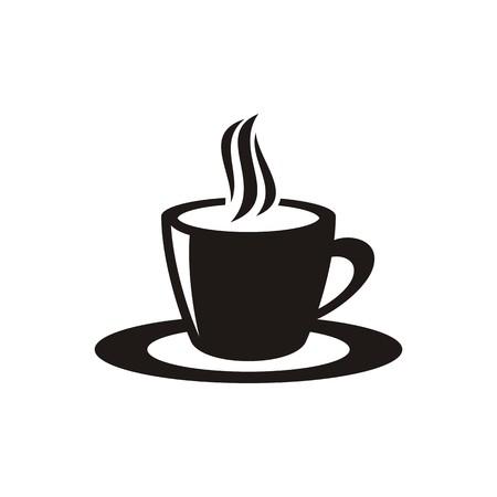 Black vector cup of hot coffee or tea Vector