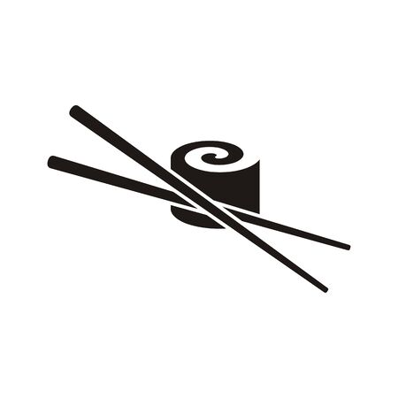 chop sticks: Black vector sushi with chop sticks icon isolated Illustration