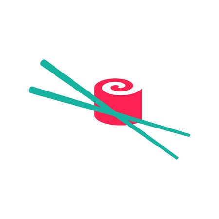 chop sticks: Colorful vector sushi with chop sticks icon isolated Illustration