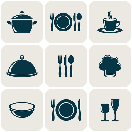 Cooking and kitchen restaurant menu retro icons collection Illustration