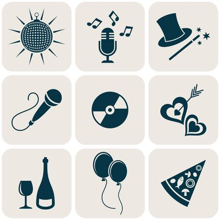 Party and entertainment retro icons collection in squares Vector
