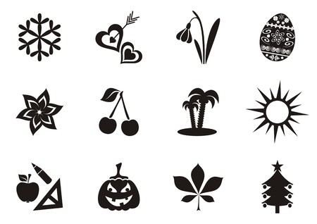 Black vector calendar months symbols collection isolated Vector
