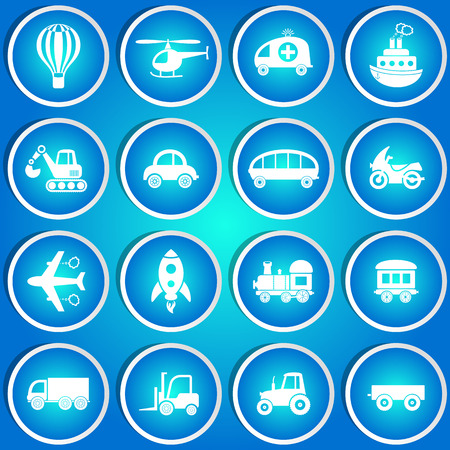 Cute vector transport icons in blue circle stickers