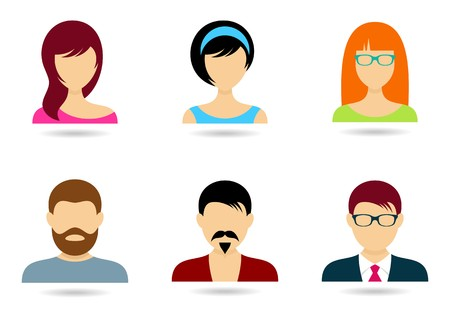 Men and women icons for web design isolated