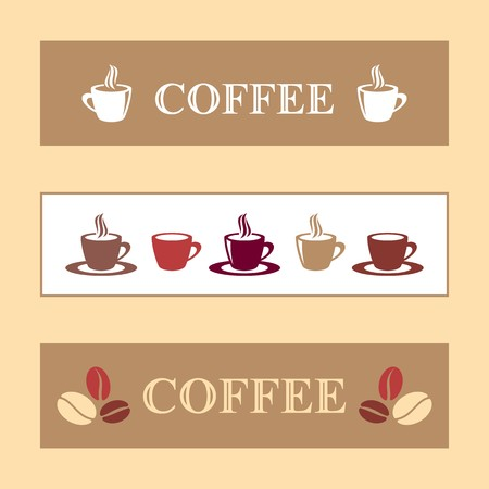 Three vector coffee banners brown and white Vector