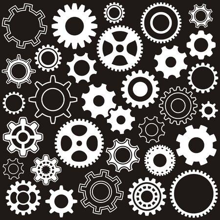 Verschillende versnellingen van versnellingswielen witte vector silhouetten