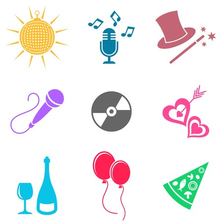 Colorful party and entertainment icons vector silhouette collection Vector