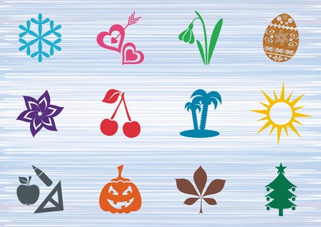 Colorful vector calendar months seasonal symbols collection Illustration