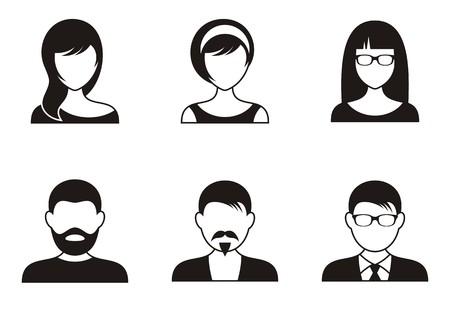 visage femme profil: Hommes et femmes ic�nes noires sur fond blanc Illustration