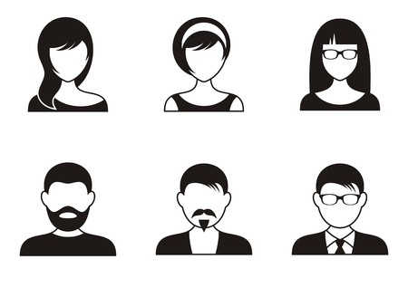 woman face: Men and women black icons on white background