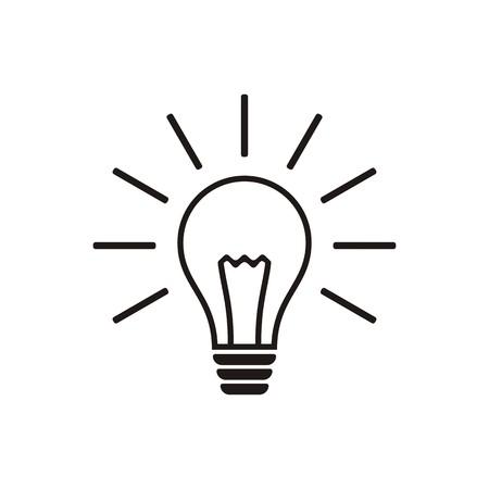 Simple black light bulb vector icon isolated