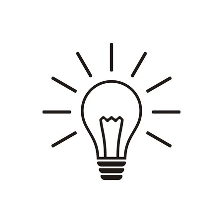Simple black light bulb vector icon isolated