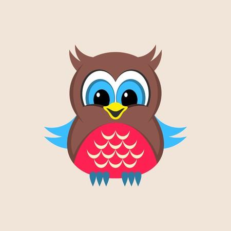Little cute colorful owl vector illustration simple card Vector
