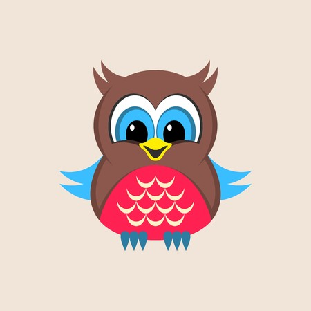 Little cute colorful owl vector illustration simple card Stock Illustratie