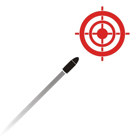 target practice: Target practice symbols with target and flying bullet